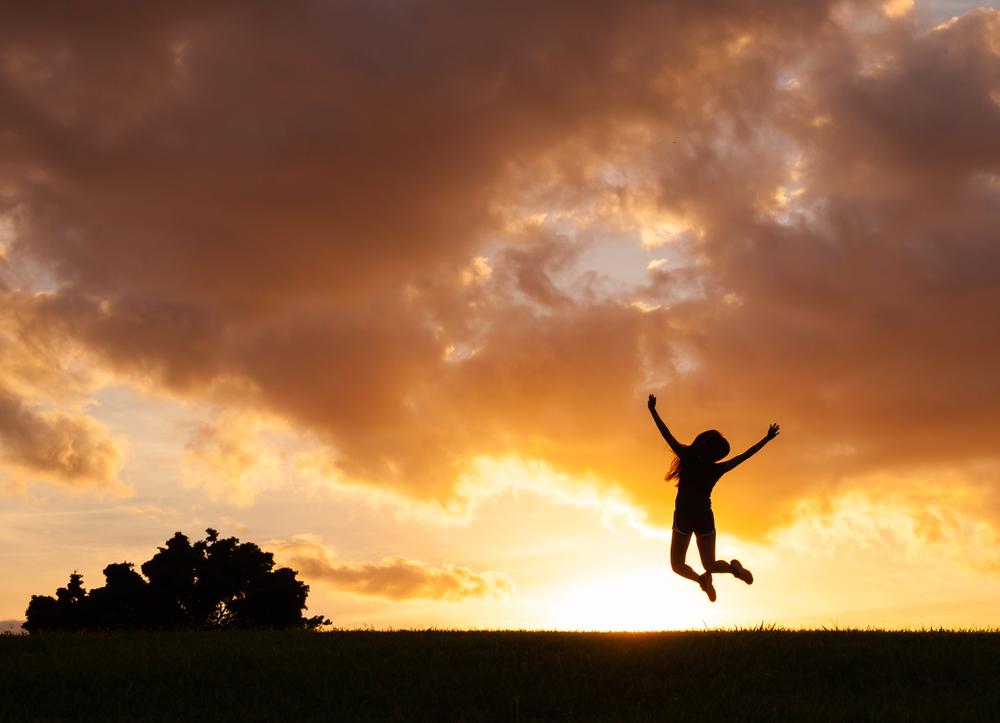 Happy woman flourishing